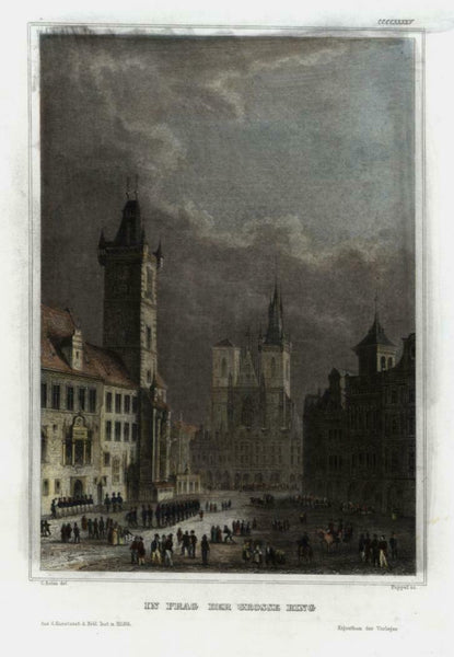 Prague Czech Republic c.1855 fine engraved city view beautiful hand color