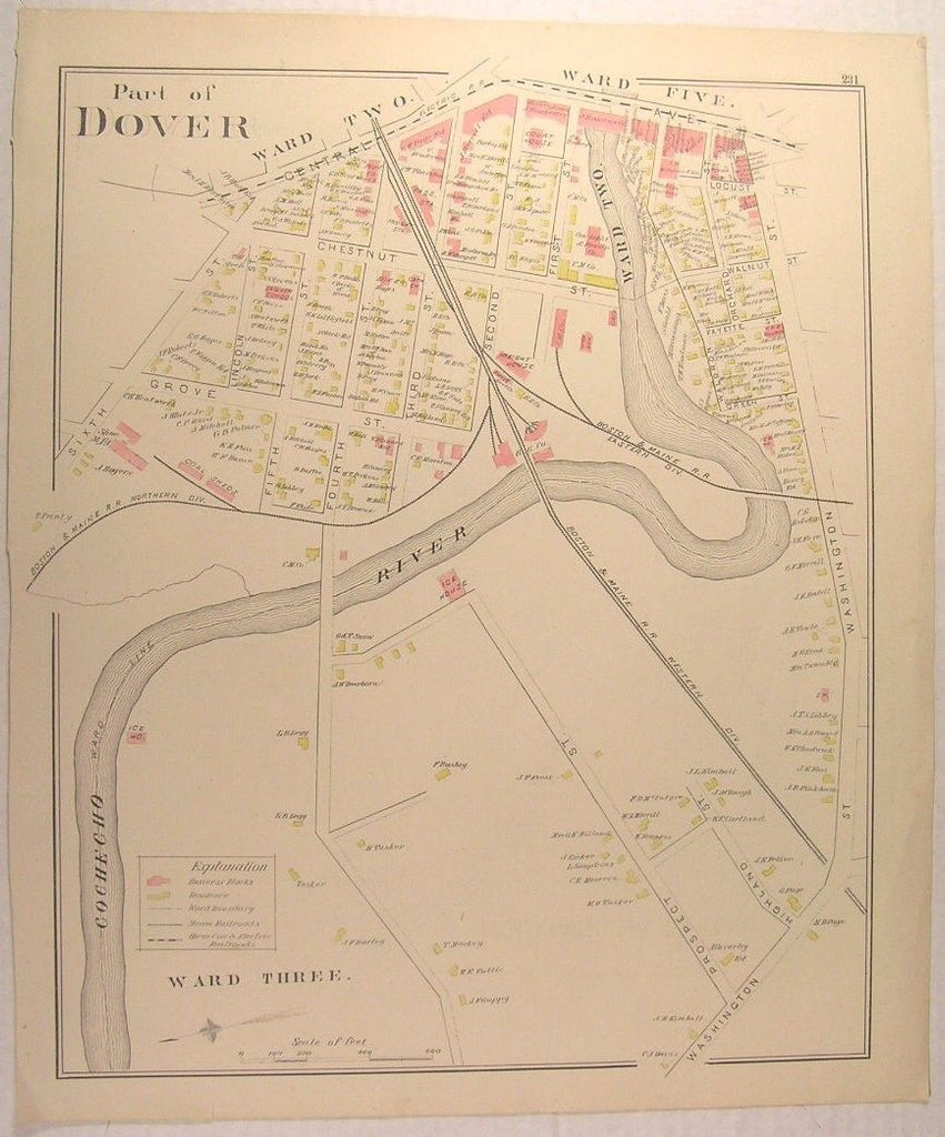 Dover New Hampshire 1892 Central Ave Downtown Sawyer Mills antique map