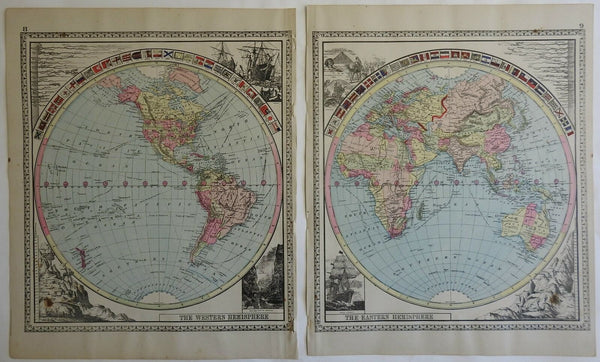 World in Two Hemispheres Ocean Steamer Pyramids 1885 Tunison two sheet map