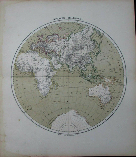 Eastern Hemisphere Australia Arabia Africa Nile source c1875 German Flemming map