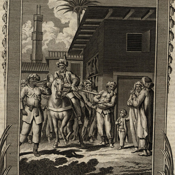 Grand Cairo butcher selling bad meat Egypt punishment 1778 old engraved print