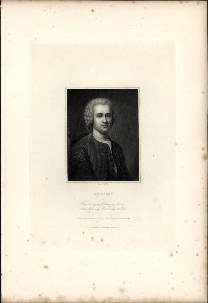 Jean-Jacques Rousseau Philosopher 1834 rare engraved portrait print India proof