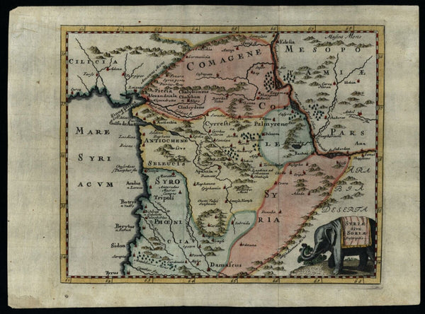 Syria Middle East 1712 decorative Cluverius map Elephant cartouche