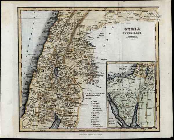 Syria south part Mediterranean Arabia Petraea c.1820 Fullarton map