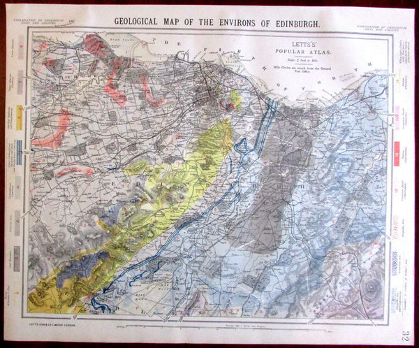 Geological environs of Edinburgh Scotland 1883 Lett's SDUK map