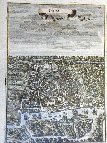 Goa India Portuguese Colony Sailing Ships 1683 Mallet bird's eye view
