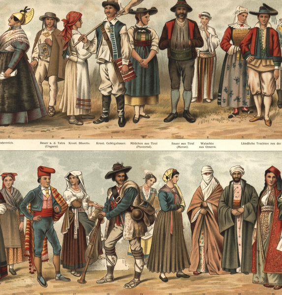 Ethnic costumes dress 1890s color print lovely old European Greece Austria Corfu