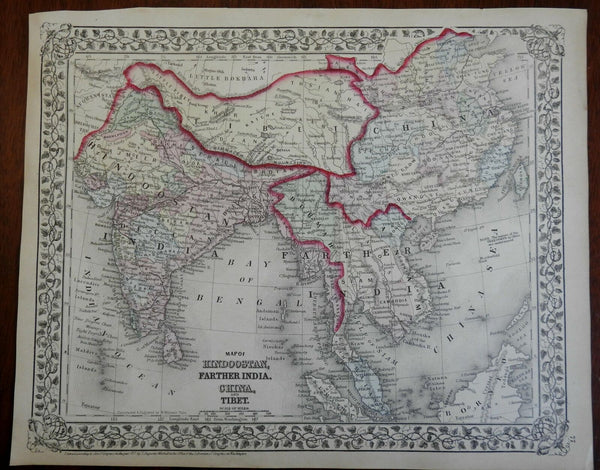 India Southeast Asia Malayasia China Taiwan Vietnam Thailand c.1874 Mitchell map