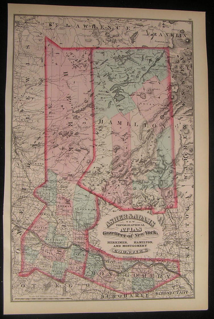 NY Herkimer Hamilton & Montgomery County 1870 fine old vintage antique map