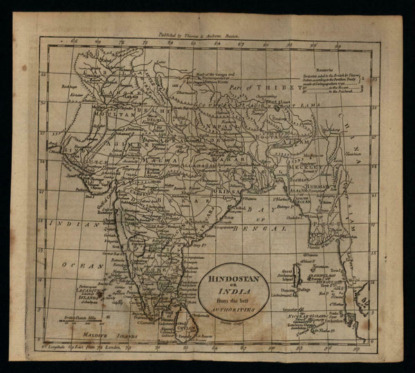 India Hindostan Burmah 1796 Doolittle scarce early American engraved map