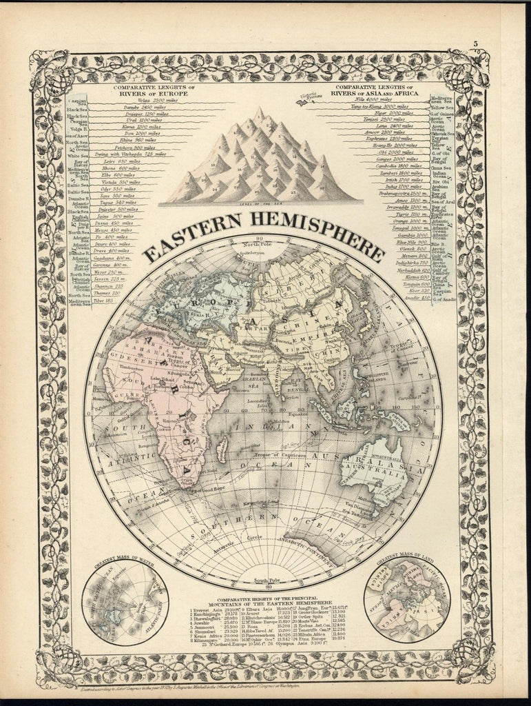 World Eastern Hemisphere Africa Asia 1872 decorative old vintage hand color map