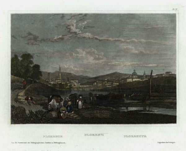 Florence Firenze Italy Italia c.1850 engraved city view beautiful hand color