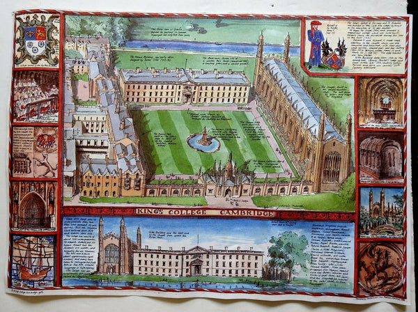 King's College Cambridge UK bird's eye view Gibbs building 1986 pictorial print
