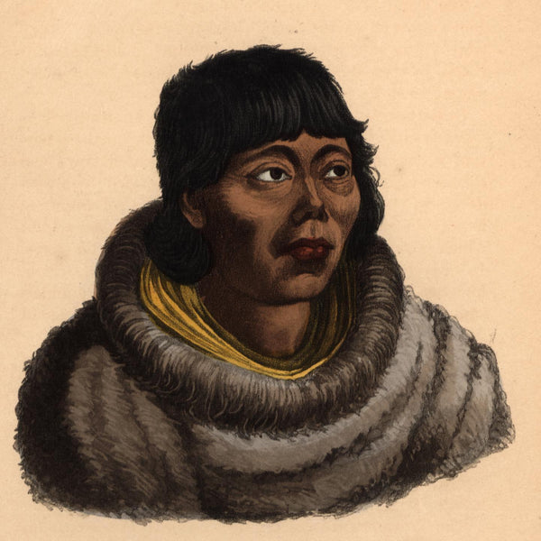 Russian native Kamchatka Arctic 1855 beautiful ethnic print lovely hand color