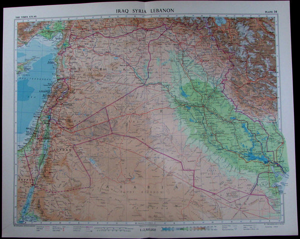 Iraq Syria Kuwait Arabia Middle East oil pipelines 1959 large detailed map