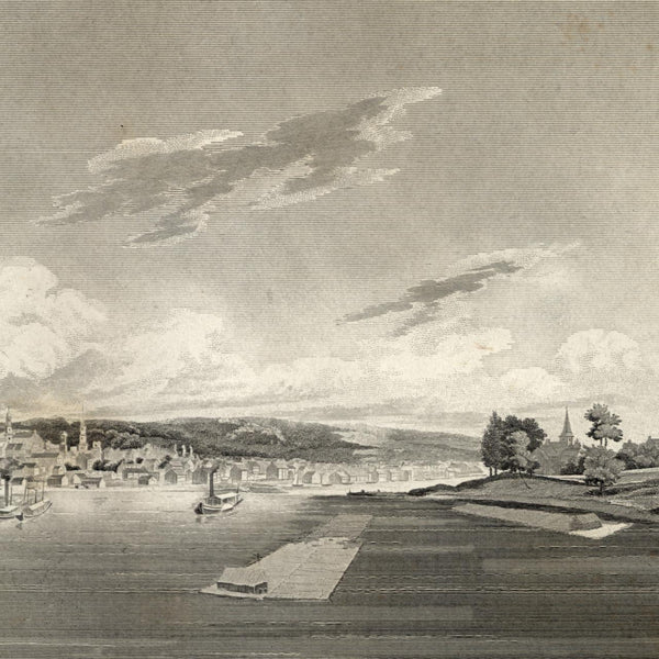 Albany New York from the water 1844 old panoramic view print birds-eye prospect