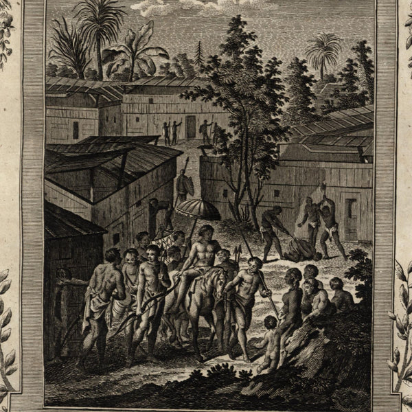 Benin Africa beheading criminals building transport 1778 nice old engraved print