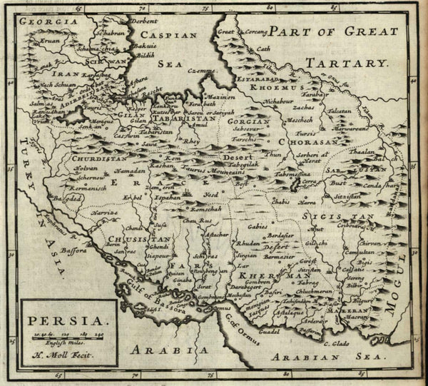 Persia Iran Gulf of Bassora Ormus Caspian Middle East 1701 Moll miniature map