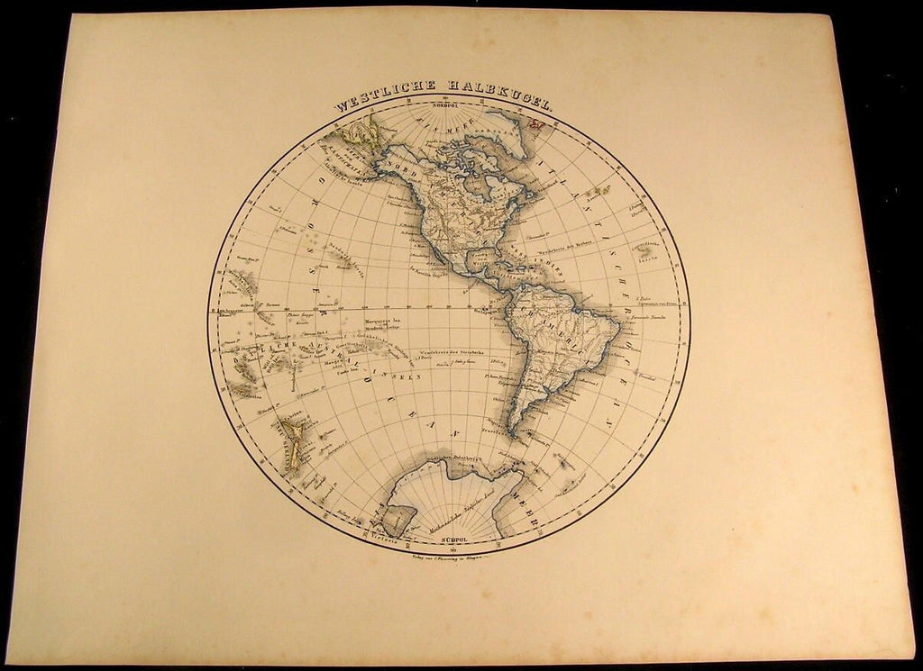 Western Hemisphere North & South America 1855 Flemming old antique map