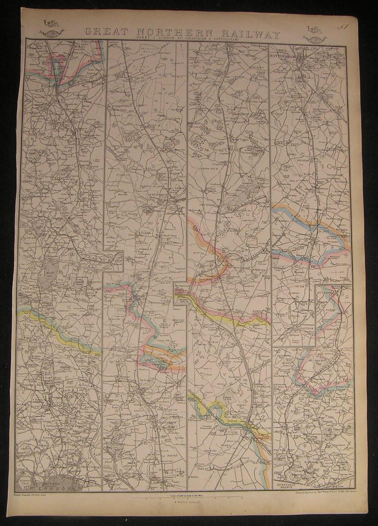 Great Northern Railway London to Grantham England c.1863 vintage big Weller map