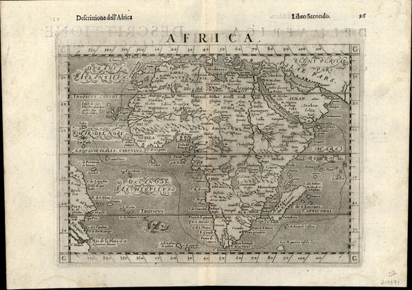 Africa Arabian Peninsula Brazil coast 1599 Ruscelli Rosaccio antique scarce map