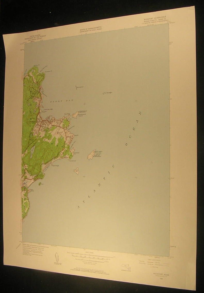 Rockport Essex County Massachusetts Sandy Bay 1958 antique color lithograph map