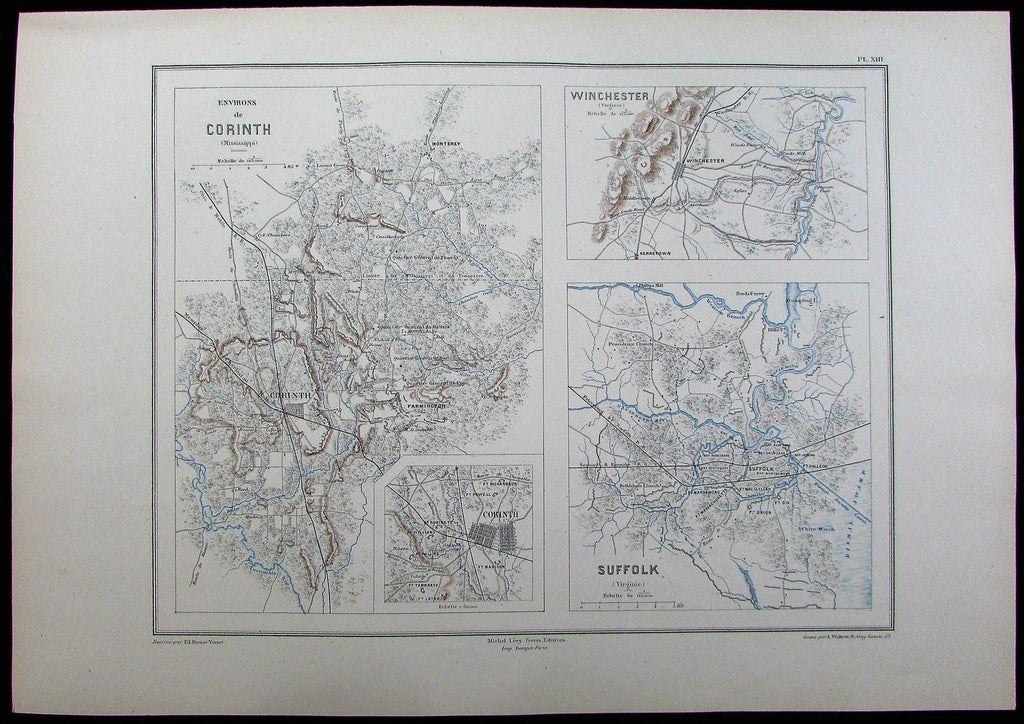 Civil War Corinth Winchester Suffolk Tennessee c.1880 old antique map