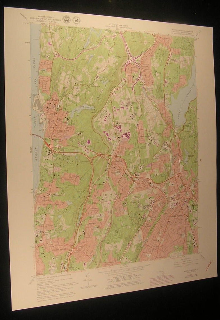 White Plains New York Ridge Road County Park 1979 antique color lithograph map