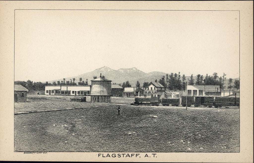 Flagstaff Arizona Territory railroad water tower 1884 Bancroft old antique print