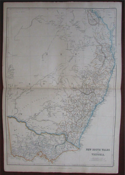 Australia New South Wales Victoria c.1850 Blackie Bartholomew detailed large map