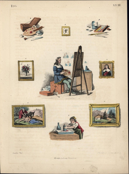 Artist with palette painting portraits fine art 1850s old antique color print