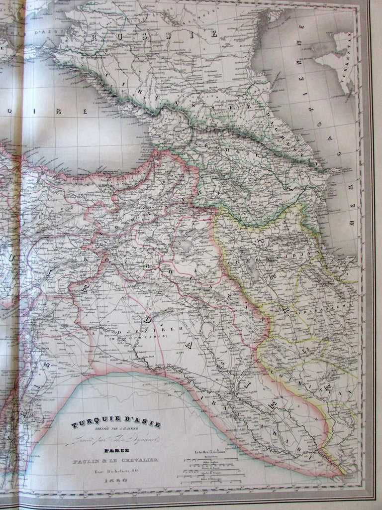 Turkey Georgia Armenia Syria Kurdistan Iraq 1860 Dufour huge old engraved map