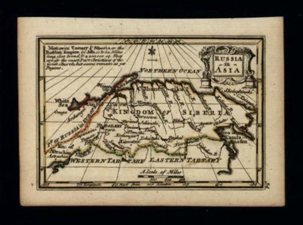 Russia in Asia Kingdom of Siberia 1758 Gibson Bowen charming miniature map