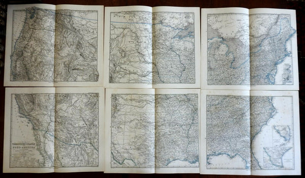 United States 1875 Stieler map 6 sheets huge wall size amazing detail