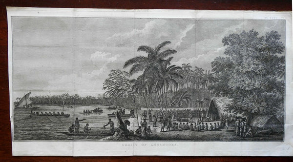Namoka Tonga Native Village Row Boats Horses 1801 Captain Cook engraved print