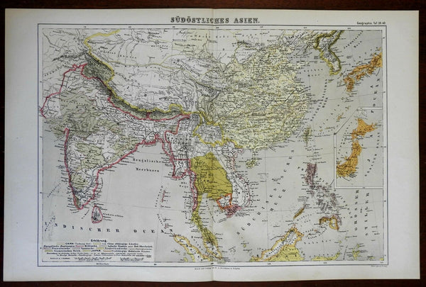 Southeast Asia British Raj India Qing Empire Japan 1874 color lithographed map