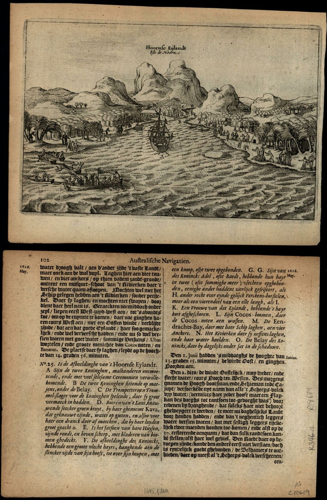 Pacific East Indies Hoornse island battle 1645 Janszoon le Maire harbor view