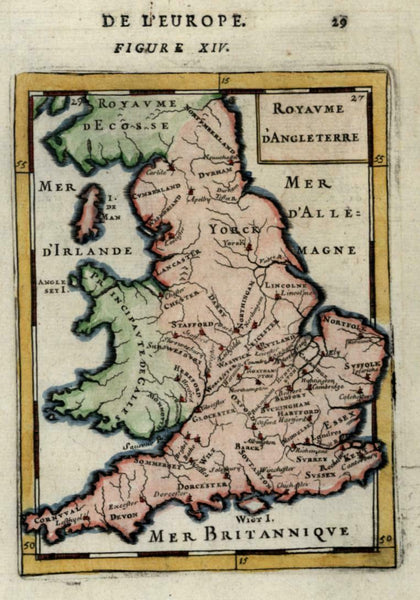 England & Wales United Kingdom 1683 Mallet miniature map hand color
