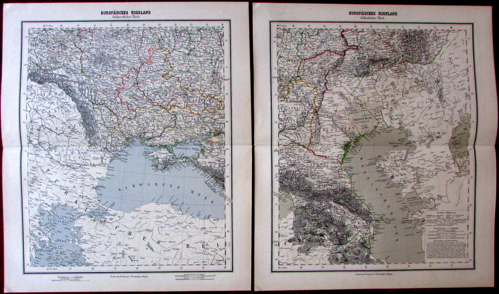 Russia in Europe in 2 sheets large scarce 1874 Flemming detailed old maps