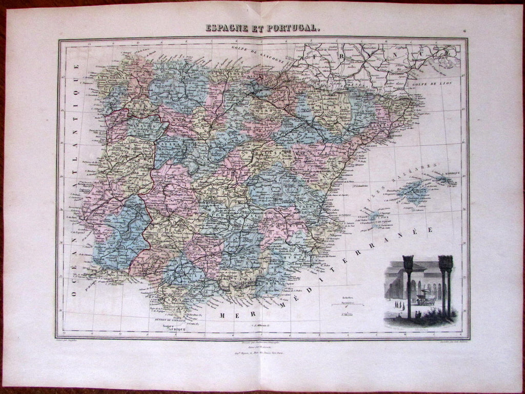 Spain Portugal decorative Alhambra c.1885 Migeon engraved hand color old map