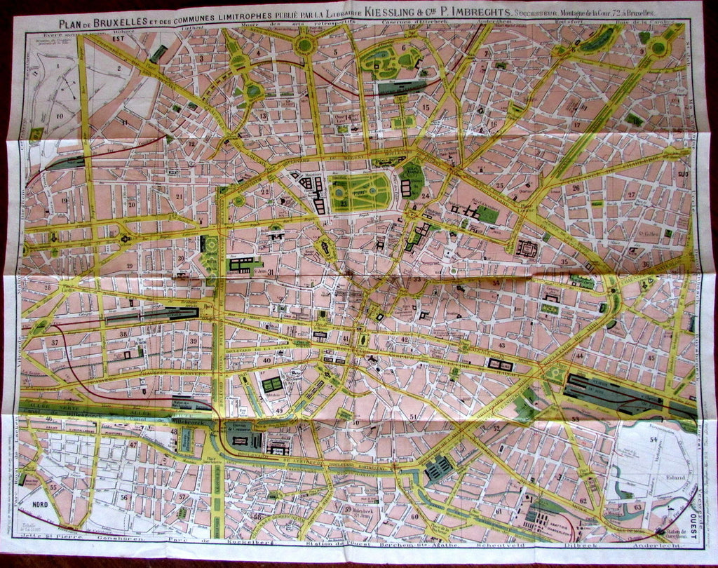 Brussels Belgium City Plan 1894 rare folding pocket map Kiessling color litho