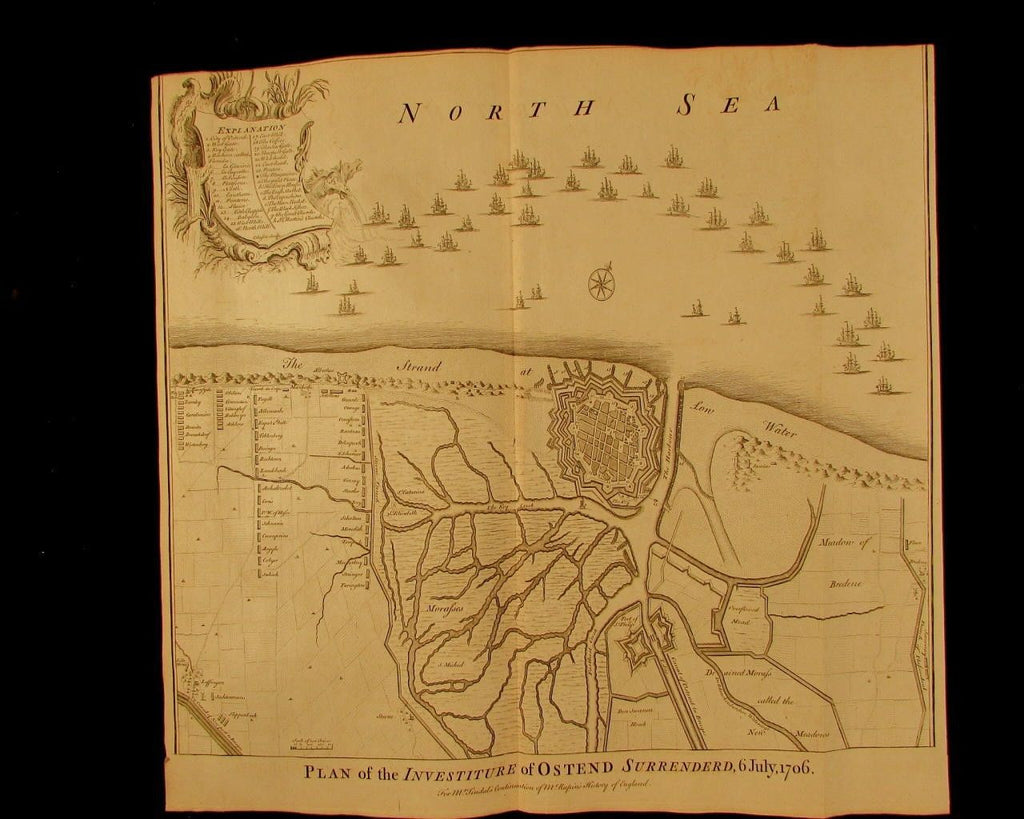 Ostend Belgium Flanders 1706 battle investiture Basire engraved antique map plan