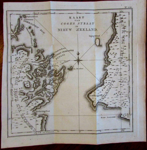 New Zealand Cook's Strait Wellington 1770-97 Capt Cook engraved rare Dutch Map