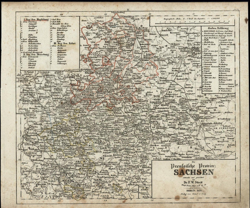 Saxony Germany Prussian Province Berlin nice c. 1835 scarce old map