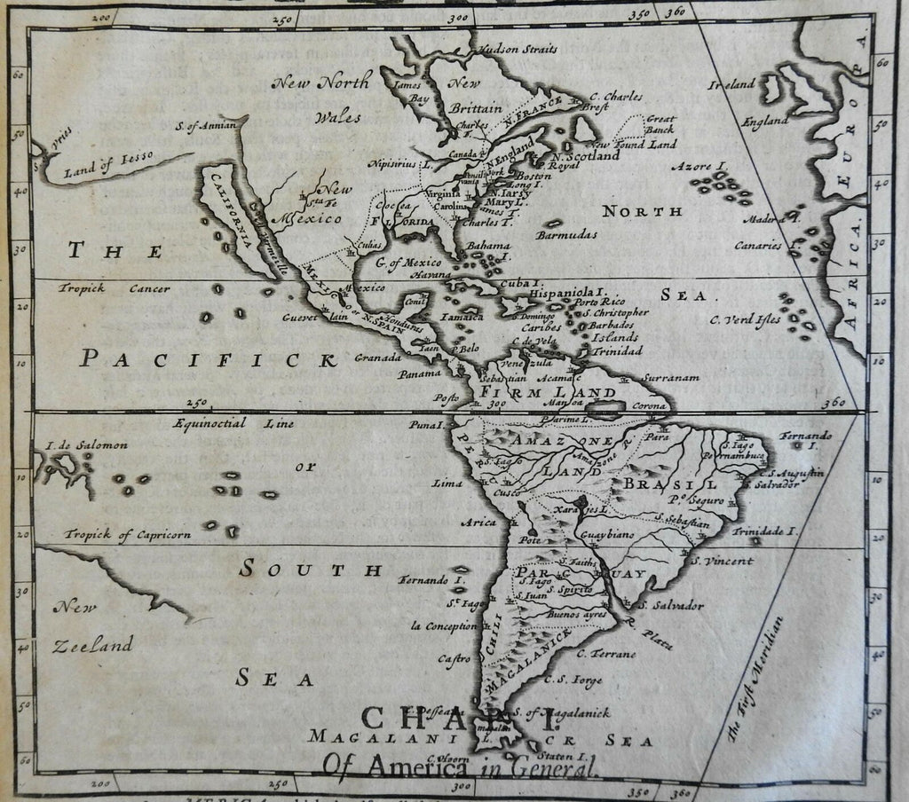 North & South America w/ bold California as an Island 1695 Moll scarce fine map