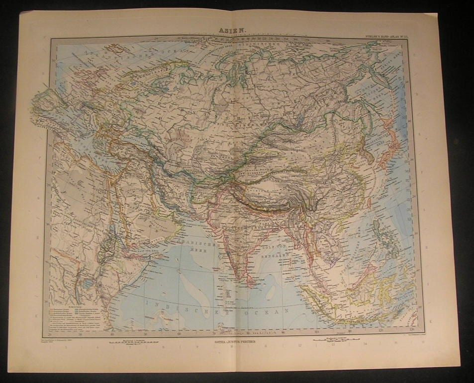 Asia Arabia 1899 Stieler British India Siam Japan China Africa antique color map