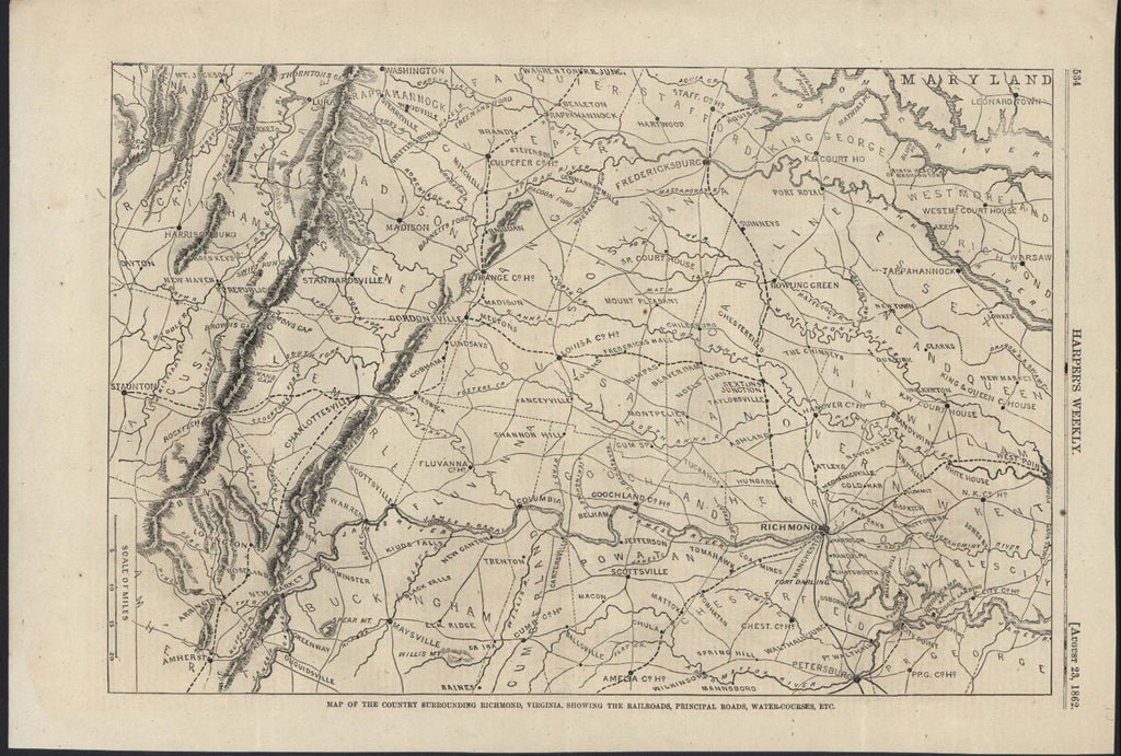 Country Surrounding Richmond Virginia Railroads 1862 antique wood engraved map