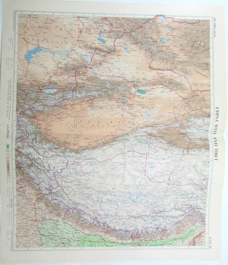 China West Tibet 1957 detailed vintage color map Delhi Llhasa Kasmir Bhutan