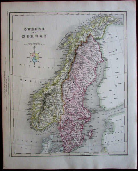 Sweden Norway Europe c.1850 Archer decorative lovely old color map