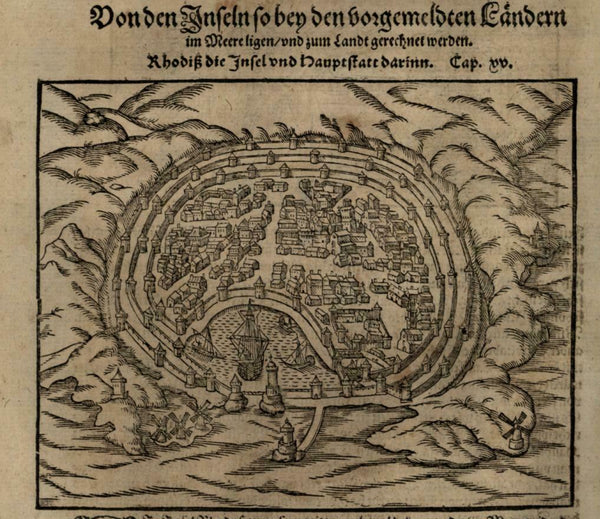 Rhodes island city plan harbor Greece 1598 Munster Cosmography wood cut print